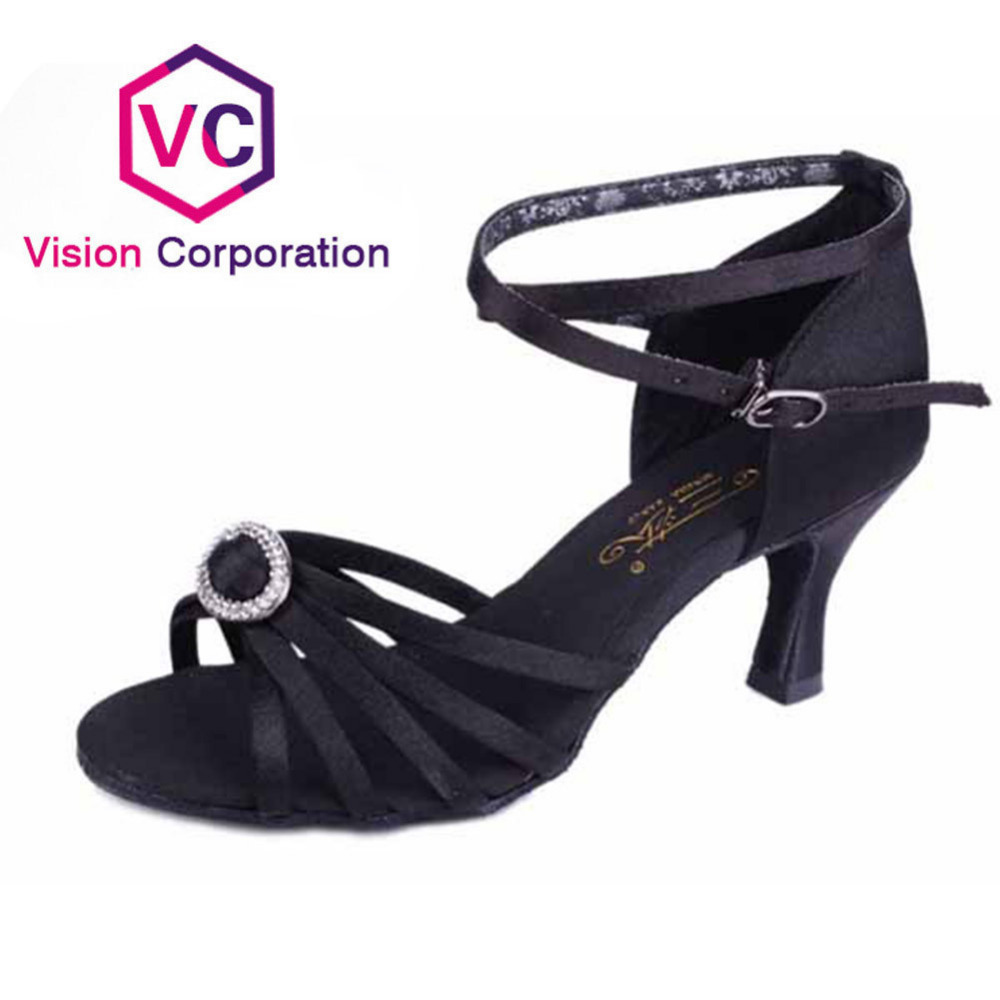 Great Discounts Coupons New Black with Circular Decorations Latin Dance Shoes for Women Girls 2 Colors