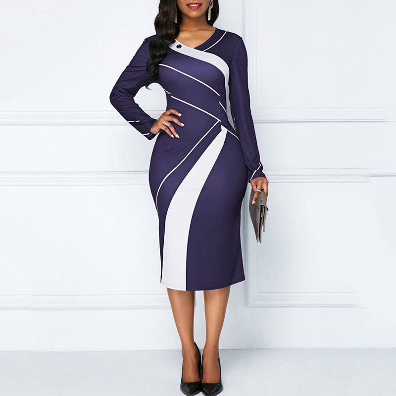 Vintage Office Ladies Elegant African Summer Purple Women Midi Dresses Bodycon Stripe Button Print Female Fashion Retro Dress