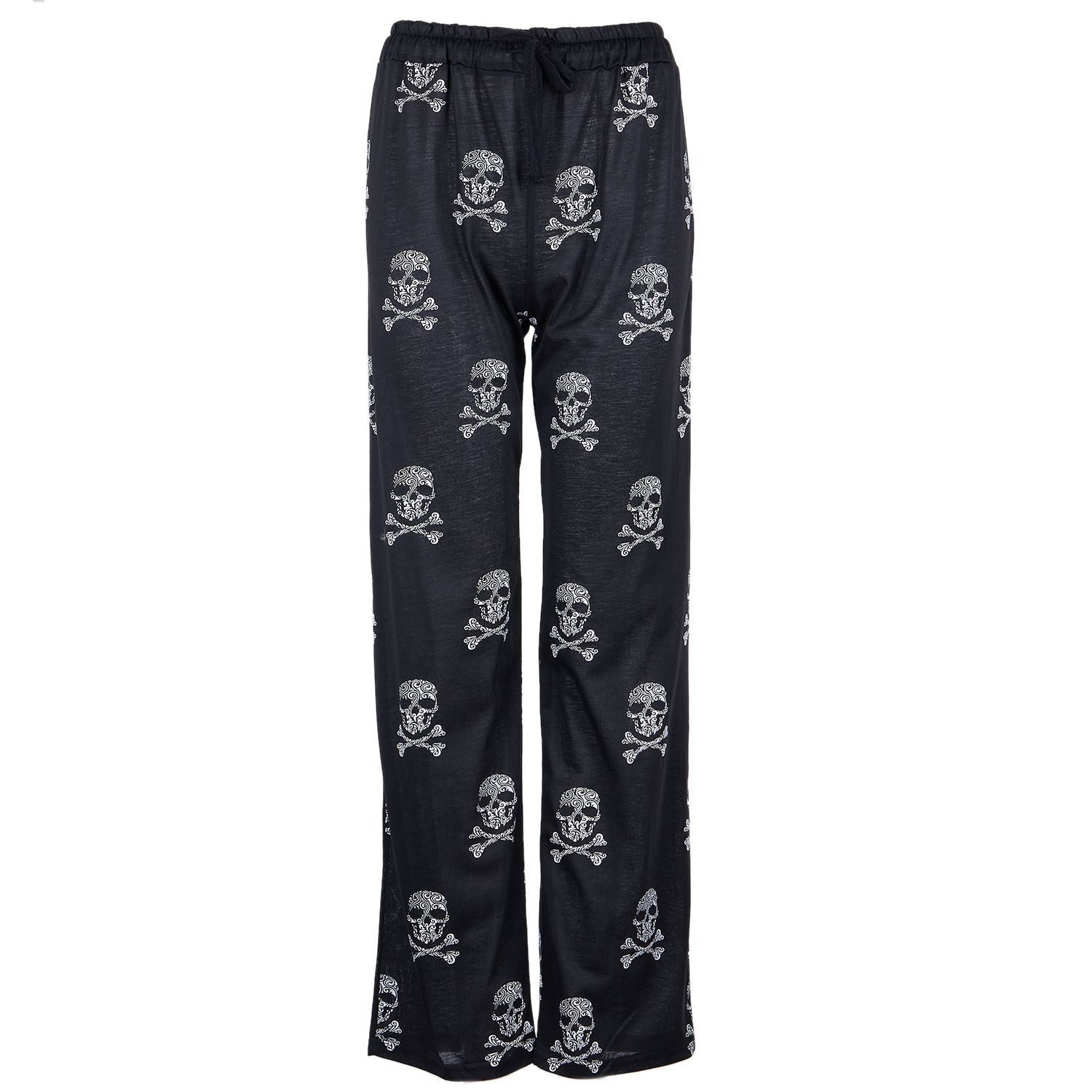 2018 Women Pants Casual Low Waist Flare Wide Leg Long Pants Palazzo Trousers Skull Printed Pajama Pants
