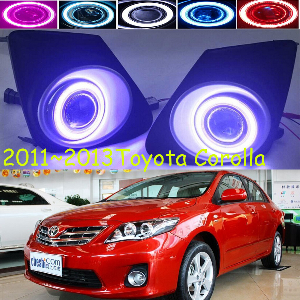 projector lens,Relay 12V car LED DRL Daytime Running Lights with fog lamp hole for Toyota corolla 2011~2013,Free ship!