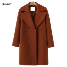 SWYIVY Woman Wool Coat Mid Long 2018 Autumn Winter Female Fashion Woolen Jacket Coat Solid Color Warm Lady Outwear Coats Blends недорого