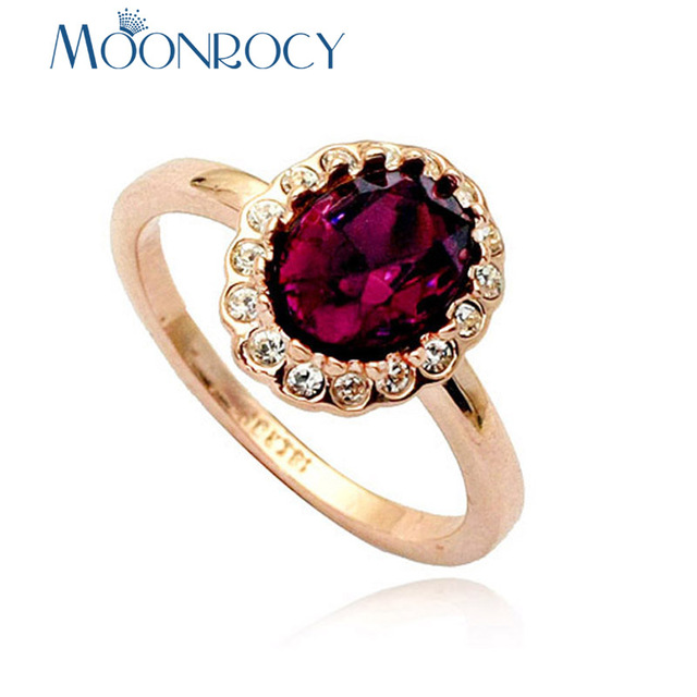 MOONROCY Cubic Zirconia Jewelry Rose Gold Color CZ Crystal Rings Red Green Purpl