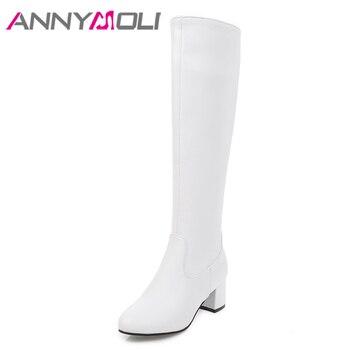 Botas hasta la rodilla ANNYMOLI, zapatos de Invierno para mujer, botas altas de tacón alto con cremallera, botas de costura de tacón grueso para mujer, nuevas botas negras de talla grande 33-43