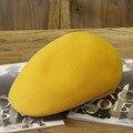 Invierno de Color Sólido Amarillo Boinas Gorras de Visera Sombreros de Fieltro de Lana Para Las Mujeres Ajustable Envío Libre PWFR-037