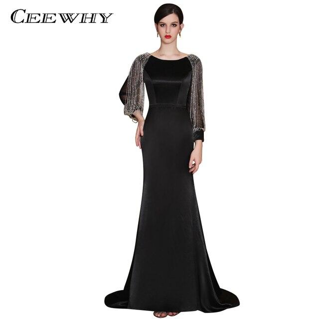 5a81c7c785fd282 Ceewhy марокканской кафтан Роскошные Русалка Вечерние платья с длинным рукавом  Бисер торжественное платье черный Выпускные платья