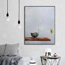 Абстрактная картина маслом Zen тематический цветок листьев лотоса художественное оформление Холст Плакаты и принты настенные художественн...