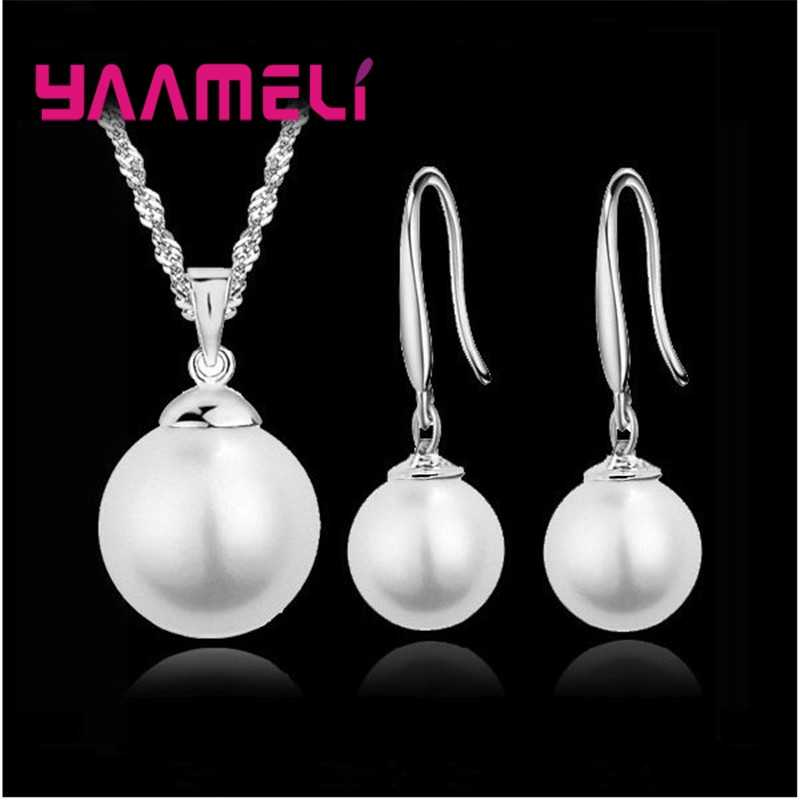Elegant Classic Bridal Jewely Set Pure Genuine 925 Sterling Silver Freshwater Pearl Pendant Necklace Earring Women Party Gift