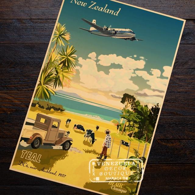 TEAL Air Classique New Zealand NZ Visit Landscape Travel Retro ...