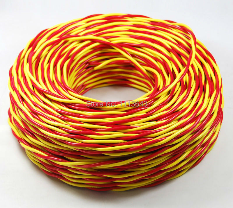 2x1.5mm2 Pure Copper Wire, 2 Pins Red Yellow Electrical Wire, PVC ...