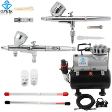 OPHIR Pro 2x Dual Action Airbrush Kit 0.2mm 0.3mm 0.5mm Spray Gun Air Tank Compressor Kit for Nail Art#AC090+AC004A+AC070 ophir pro dual action airbrush kit with air tank compressor air brush spray gun for nail art body paint model ac090 004a 070