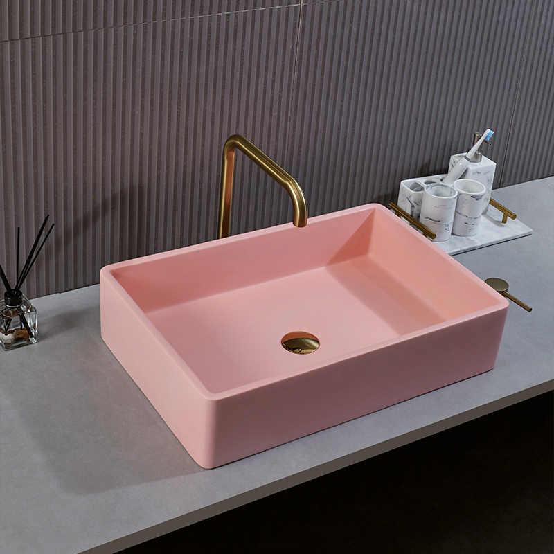 Nordic Pink Washbasin Sink Bathroom Counter Top Sinks Household