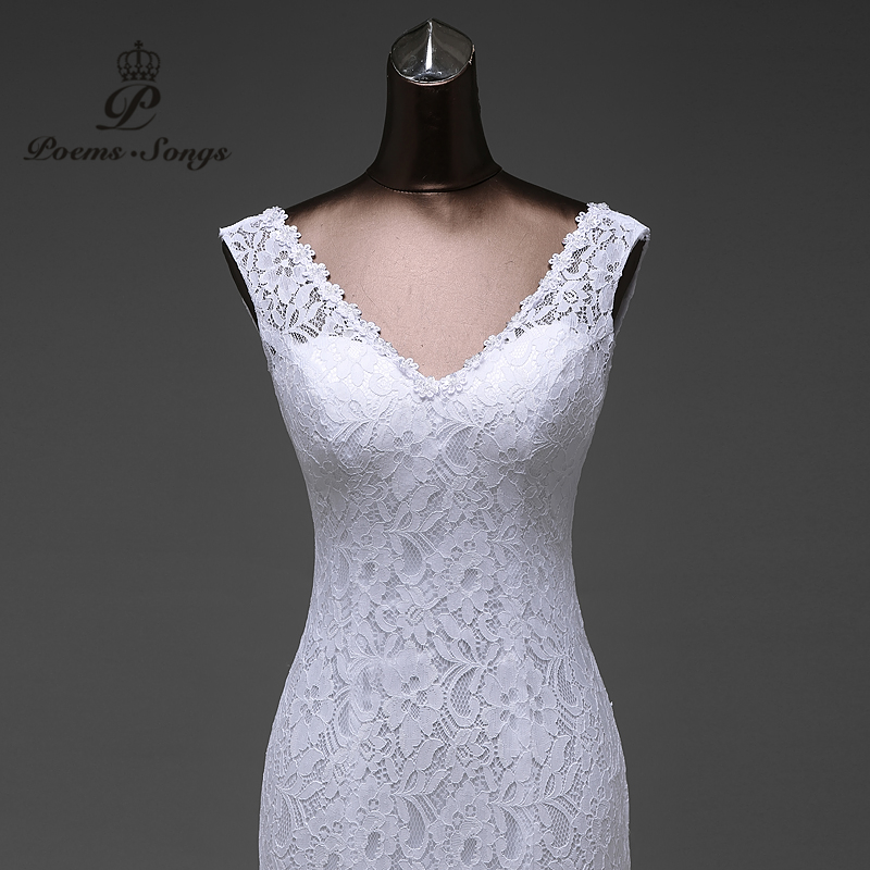 Image 2 - Free shipping  lustrous satin and lace flowers  very Sexy  Backless mermaid  Wedding Dresses vestidos de noiva robe de mariage-in Wedding Dresses from Weddings & Events
