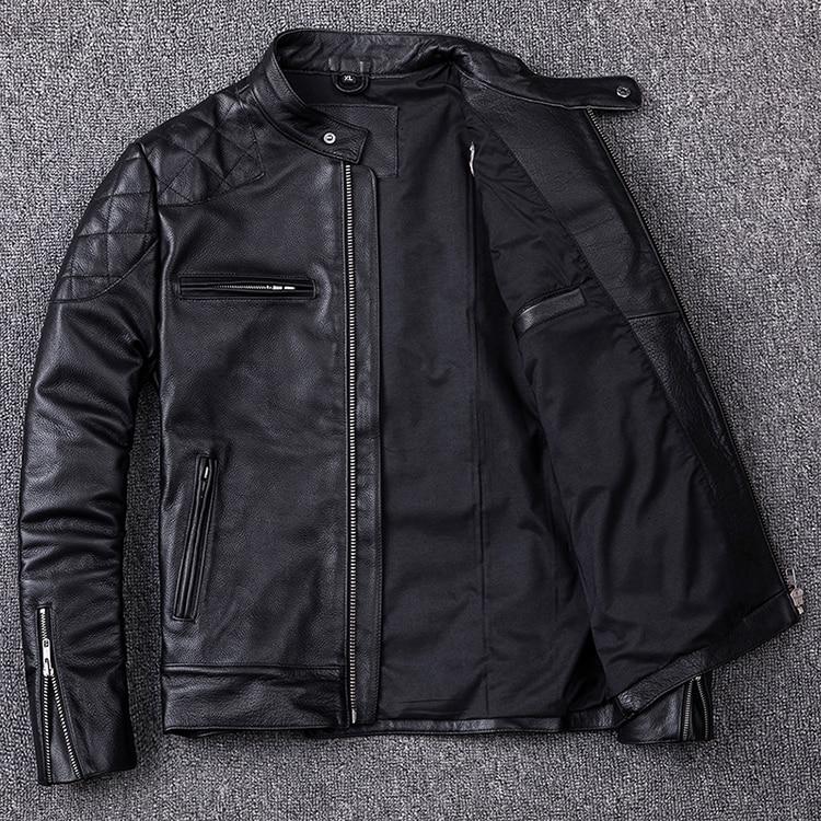 HTB1N3MuacfrK1Rjy1Xdq6yemFXa4 Brand new style motor style leather jacket,mens genuine leather coat.plus size black slim jacket.cowhide.cheap