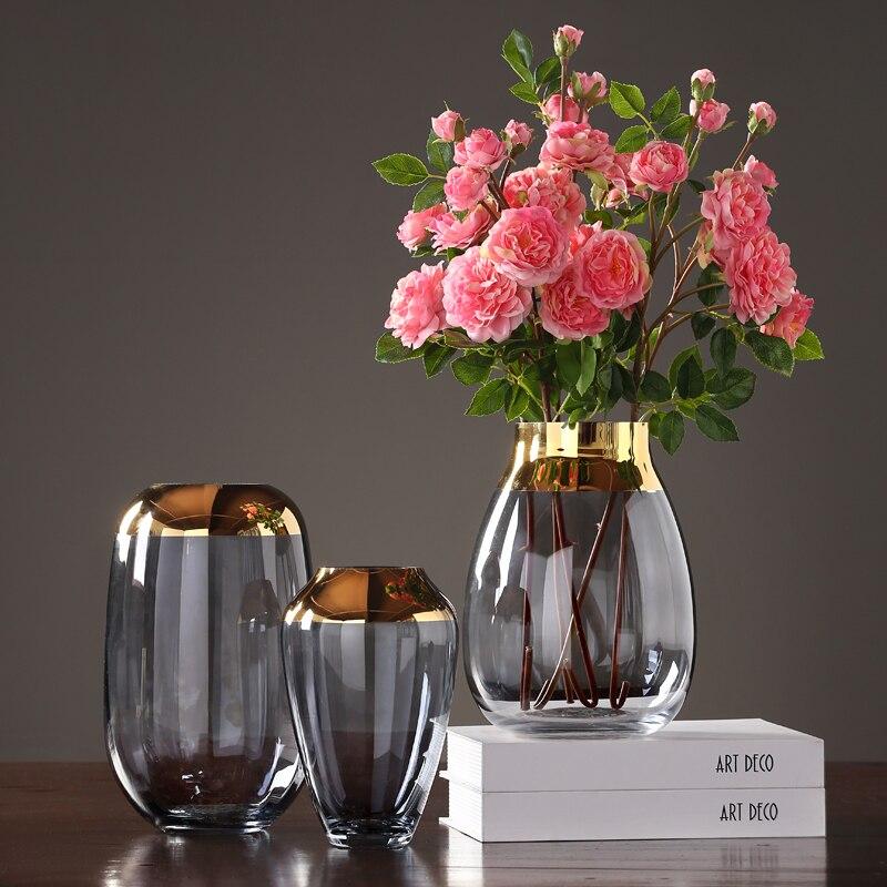 Vases en verre de luxe modernes gris/vert terrarium conteneurs en verre ameublement artisanat vase à fleurs pour la décoration de la maison de mariages