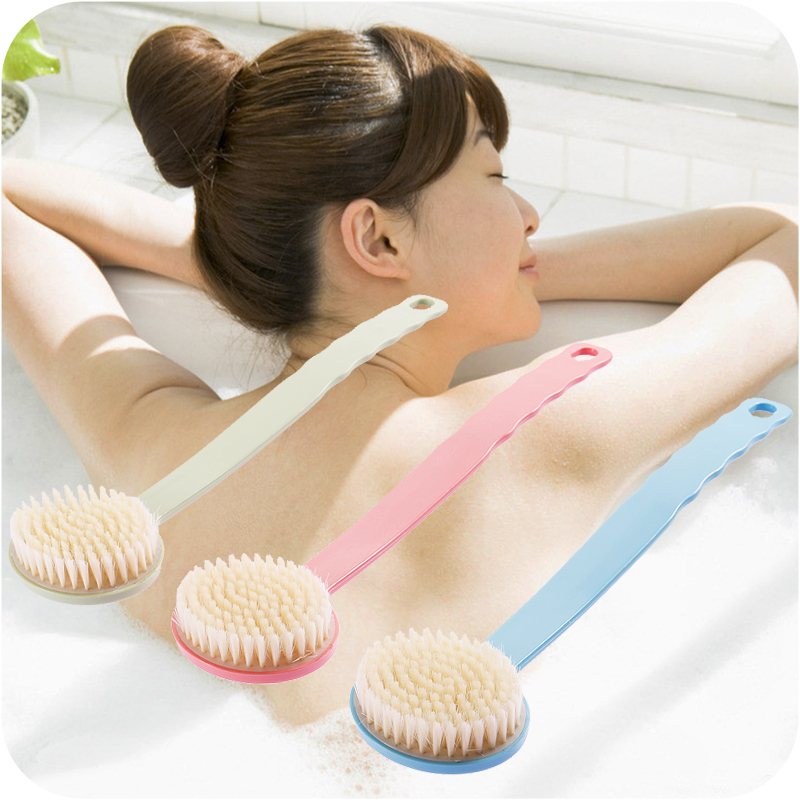 Long Handle Bath Brush Cleaning Brush Fur Rubbing Bath Brush Back Massage Bath Brush Cleaning Tool 3 Color