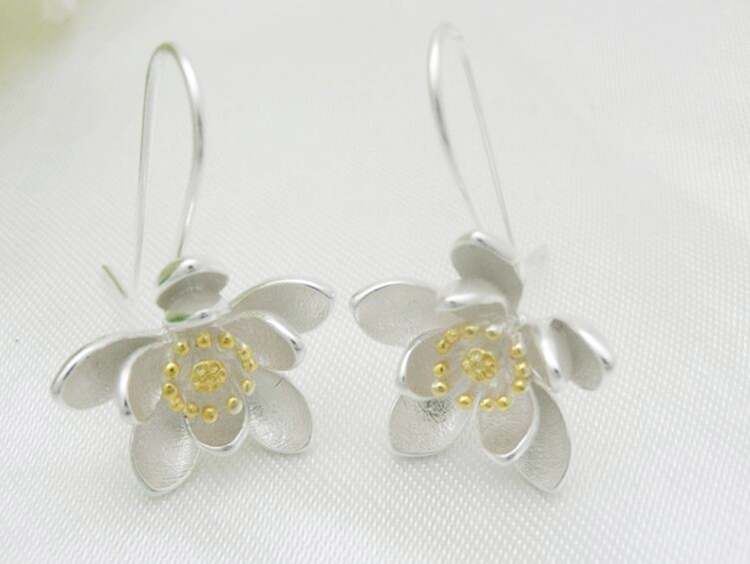 Women's 925 Sterling Silver Lotus Earrings 2