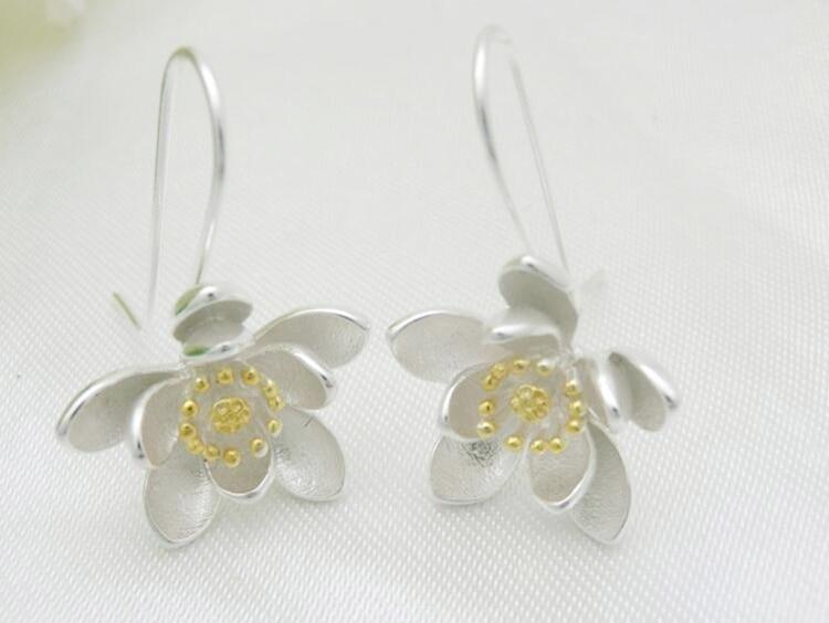 Women's 925 Sterling Silver Lotus Earrings 2
