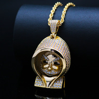 Micro Paved AAA Cubic Zirconia Bling Iced Out Gold cloak Mario Pendants Necklace For Men Hip Hop Rapper Jewlery Drop Shipping