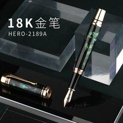 Héroe 18K colección de oro pluma estilográfica Edición Limitada hermoso ciervo Metal y concha grabado fino pluma de 0,5mm y caja de regalo