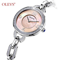 OLEVS Ladies Waterproof Watch Shiny Rhinestones Stainless Steel Watchband Women Watch Dial Quartz Bracelet Watches For