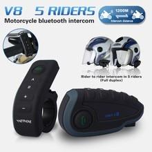 2017 5 Corredores Capacete Cascos V8 Intercomunicador Bt Nfc Manillar de La Motocicleta de Control Remoto Comunicador Motor Casco Auricular Bluetooth
