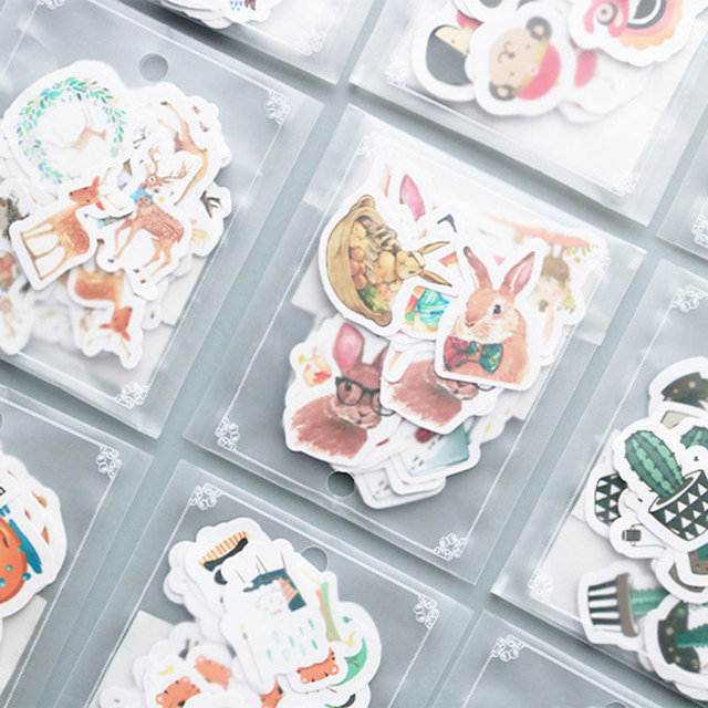 40pcs/bag Cute animal expression adhesive paper sticker childr diy Handmade Gift Card photo album Scrapbook diary decor stickers