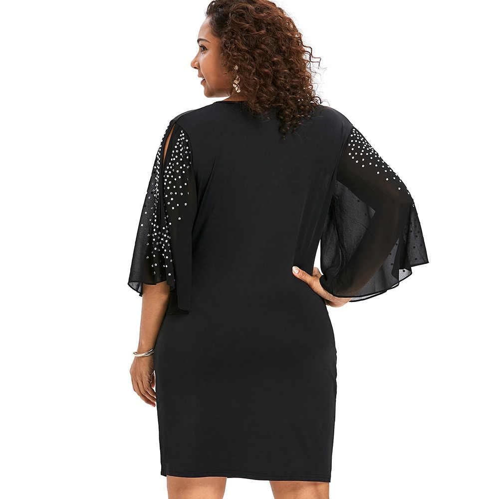 Wipalo плюс размеры 5XL с расклешенными рукавами Наложение V средства ухода за кожей шеи Bodycon Surplice платье для женщин разделение рукавом блестящие пла