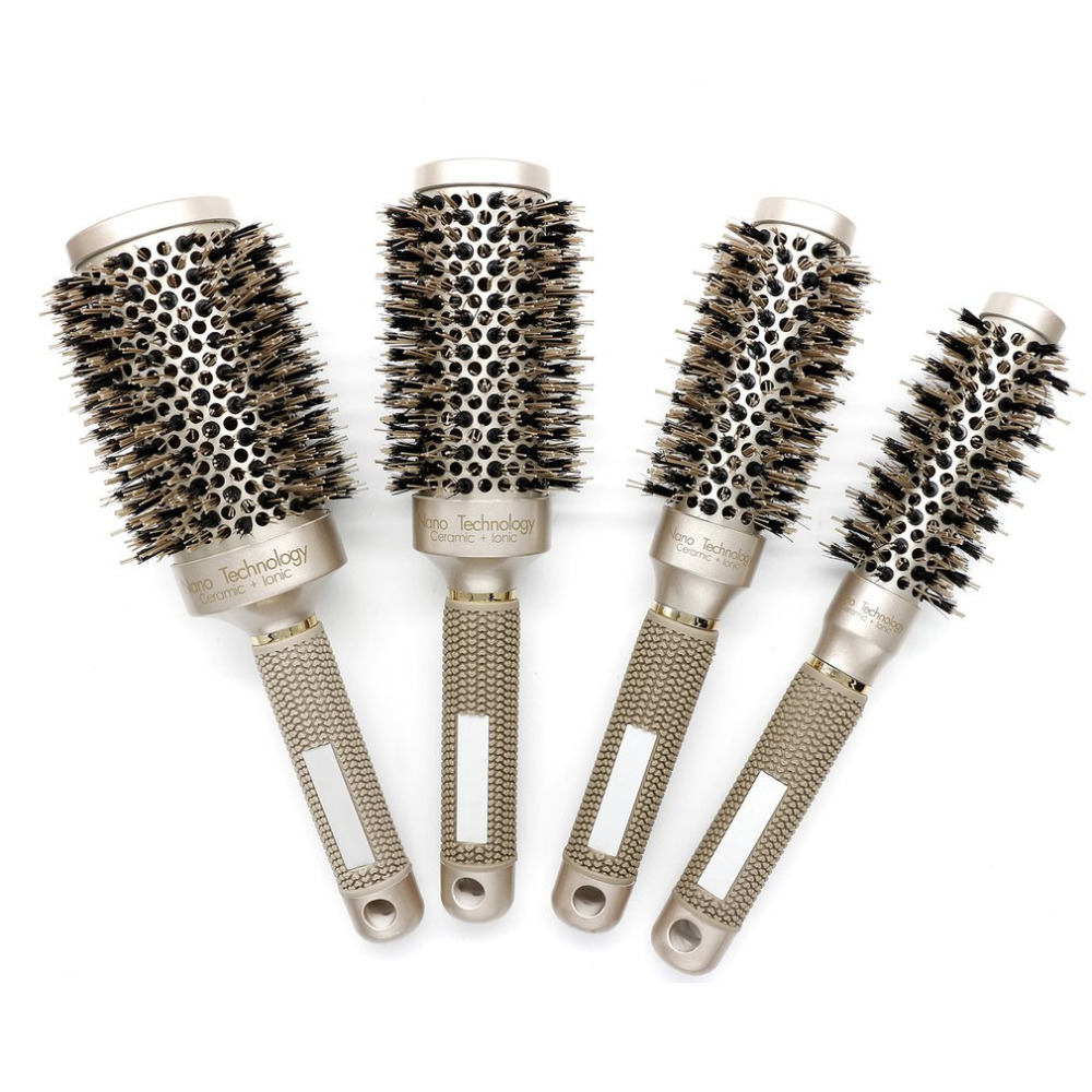 Nylon & Bristle Hair Round Brush Ceramic Aluminium Hair Comb Professional Hairdressing Brush For Barber Styling Comb