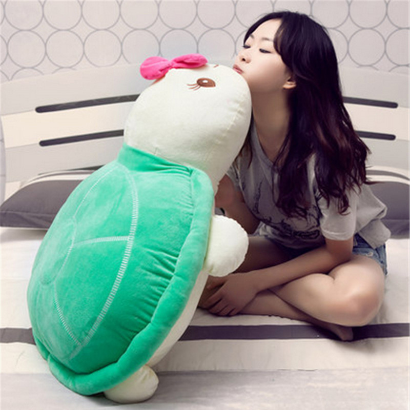 Fancytrader Big 100cm Stuffed Turtle Plush Animals Toy Soft Anime Tortoise Pillow Doll 39inch Children's Day Gifts fancytrader new style giant plush stuffed kids toys lovely rubber duck 39 100cm yellow rubber duck free shipping ft90122
