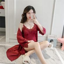 3ba72b4de Verão Conjunto Rendas Bordado Sleepwear Kimono Camisola Sexy Nighty   robe  Roupa Em Casa das Mulheres