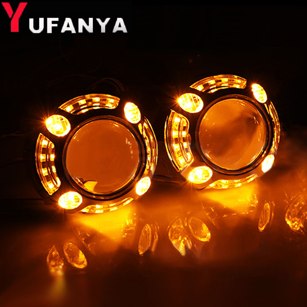 2 pcs led angel eyes shrouds for 3 0 inch hid Projector lens led day running