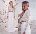 Cheap 2 Piece Beach Wedding Dresses 2016 for Women Long Sleeves White Sheer Lace Summer Dress Bridal Gowns Vestido De Noiva