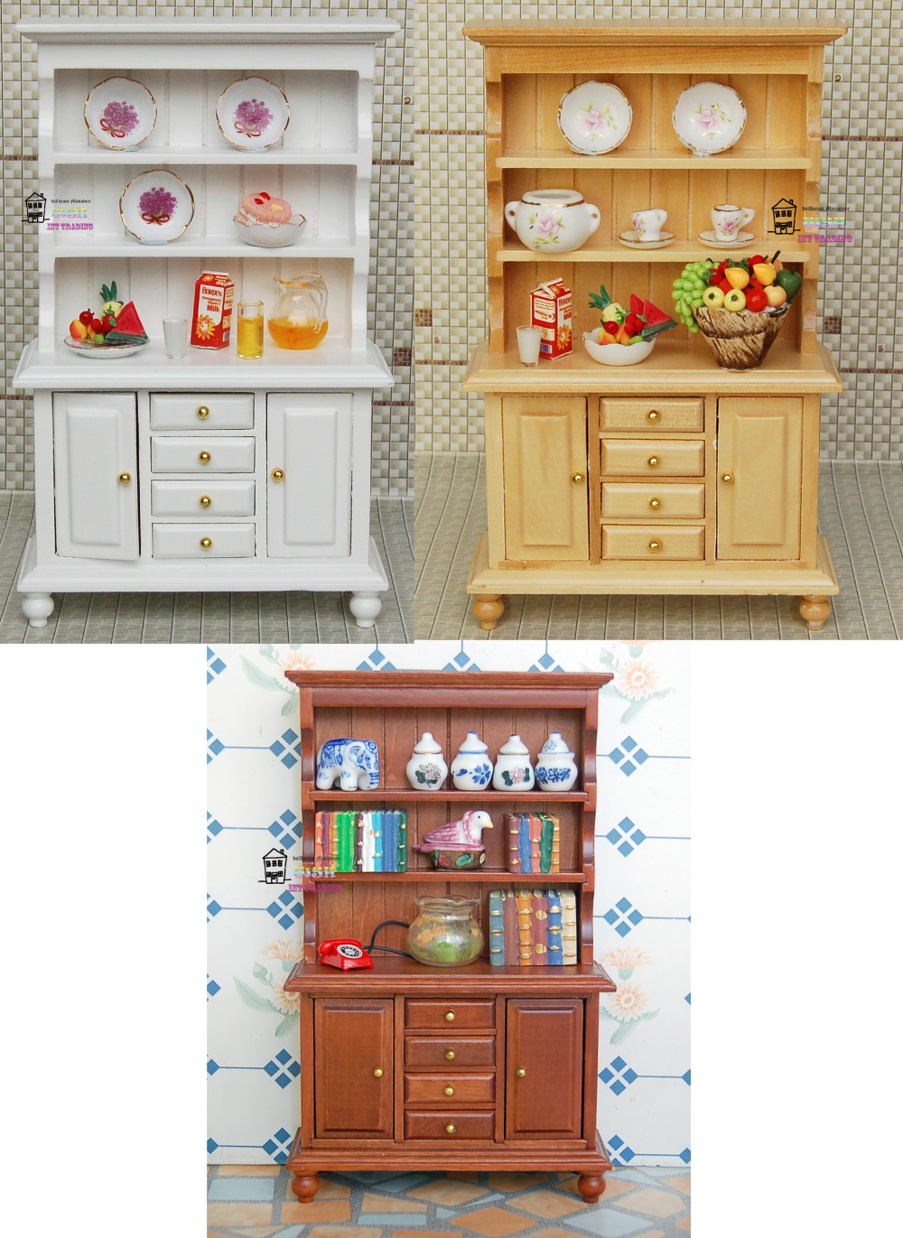 6 57 Doll House Miniature 1 12 Size Dolls Furniture Wood Display Cabinet Kitchen Accessories
