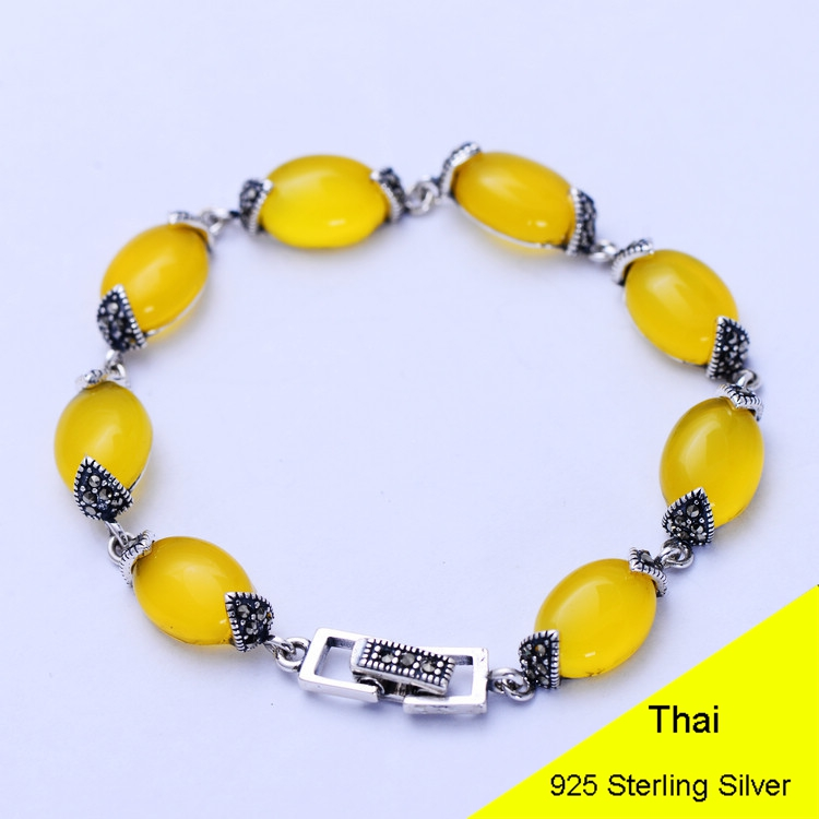 Fashion 925 Sterling Silver Vintage Handmade Yellow Chalcedony Bracelet Women Thai Silver Gift Jewelry CH055728 fashion 925 sterling silver 5mm red garnet bracelet women gift thai silver jewelry several string long bracelet ch041954