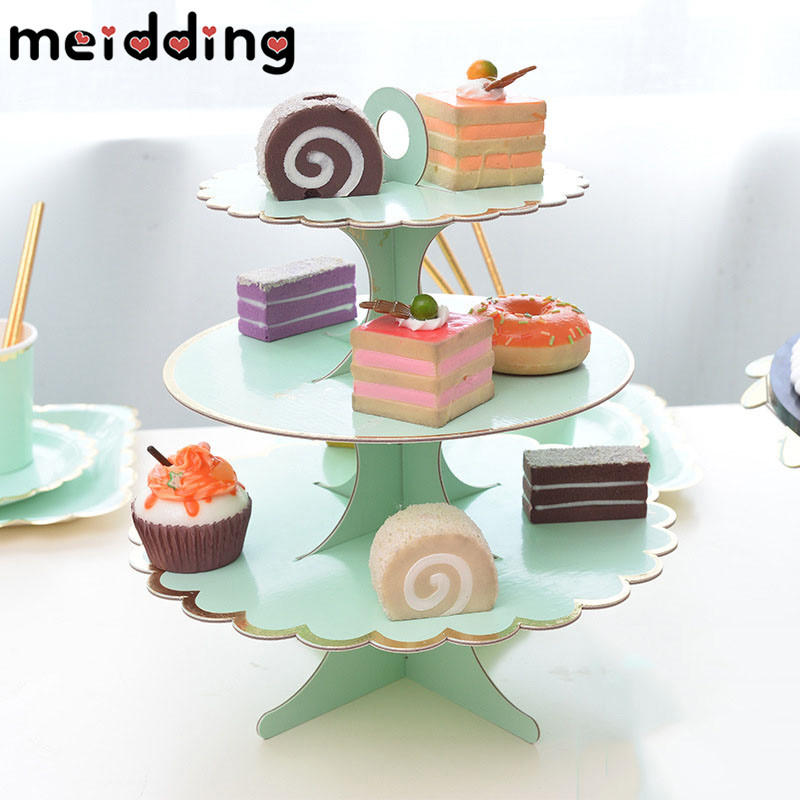 MEIDDING 1 Tier/3 Tier Round Paper Foldable Cake Rack Food Stand Display Shelf Birthday Party Wedding Cake Stand Cupcake Stands
