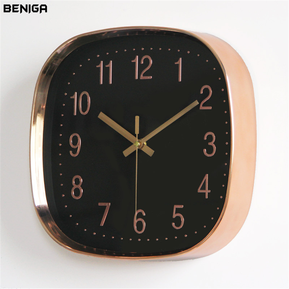 Modern Minimalist Black Rose Gold Wall Clock Vogue European Luxury Graceful Square Silently Quartz Needle Wall Clock for Decor