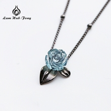 Rose Necklace Pendant Black Blue Color Bridesmaid Gift/Birthday Gift Rose Flower Rose Pendant Necklace Valentine's Gift For Her milky blue earring and pendant necklace flower shape pendant necklace jewerly set for women gift