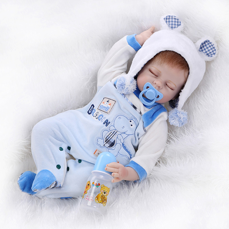 ФОТО free shipping very soft 22inch reborn baby doll lifelike soft silicone vinyl real gentle touch with panda hat  bouquets juguetes