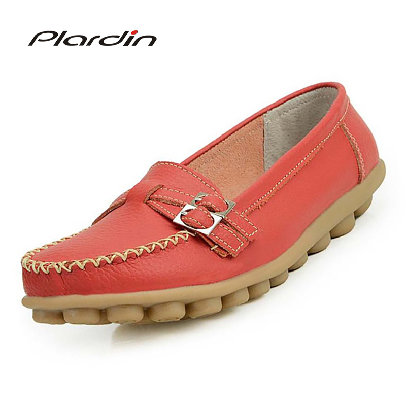Plardin New Women Genuine Leather Shoes Comfortable Buckle Flats Nurse Oxfords Casual Handmade Ballet Flats Shoes WomanPlardin New Women Genuine Leather Shoes Comfortable Buckle Flats Nurse Oxfords Casual Handmade Ballet Flats Shoes Woman