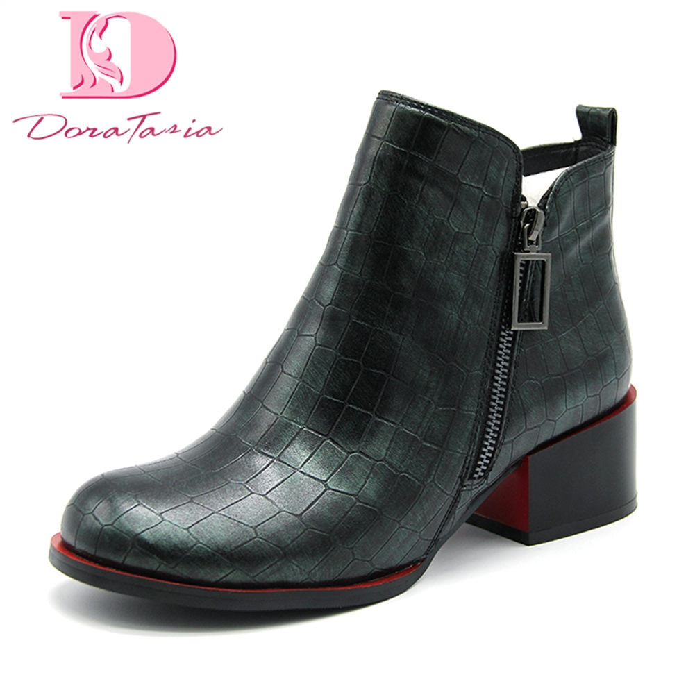 DoraTasia 2018 Brand design stone printing top quality ankle boots shoes fashion square heels western booties big size 35-43