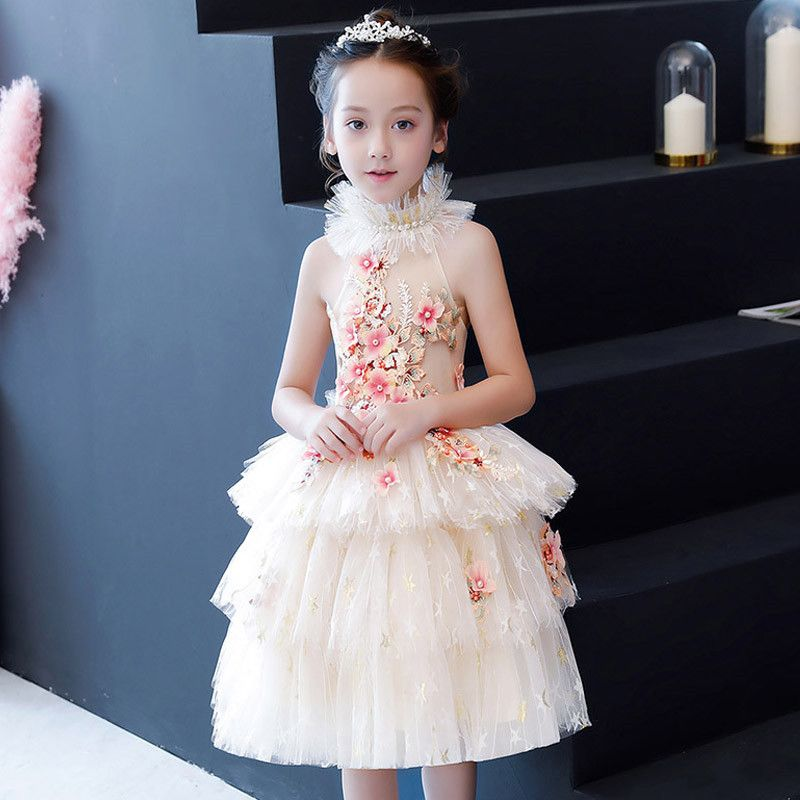 2019 Kids Girl Pearl Mesh Pageant Princess Dress Kids Girl Birthday Christmas Party Dress Children Elegant Wedding Prom Gown Q67