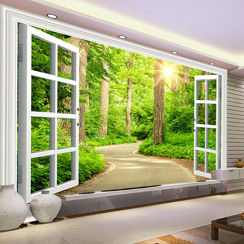 3D Photo Wallpaper Green Sunshine Forest Road Window Nature Landscape Wall Mural Living Room Sofa TV Background Wallpaper