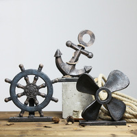 Mediterranean retro industrial wind boat rudder compass American living room home decoration Home Furnishing Ornament