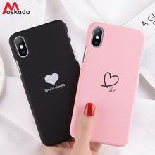 c1c0f14191 Moskado Couples Love Heart Phone Case For iphone 7 Plus Simple Love Letter  Pattern Case For iphone X 8 6 6S Plus Matte Hard Case