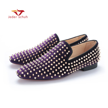 Handmade men black nubuck leather shoes with silver rivet Fashion CL same style men loafers red bottom men's flats Size US 6-14