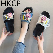 HKCP Fashion 2019 Summer Slippers Womens Casual Wild Flowers Flip Over the Side Home C412