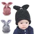 Lovely Cute baby girls boys knitted crochet winter hats with rabbit bunny ears european style beanies cap