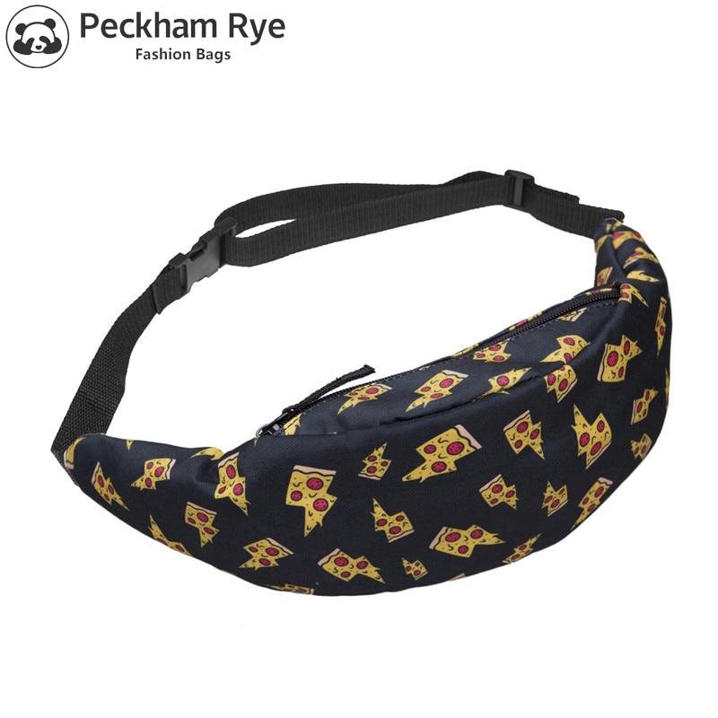 20 Colors New 3D Colorful Print Pizza Waist Pack For Men Fanny Pack Style Bum Bag Women Money Belt Travelling Mobile Phone Bag