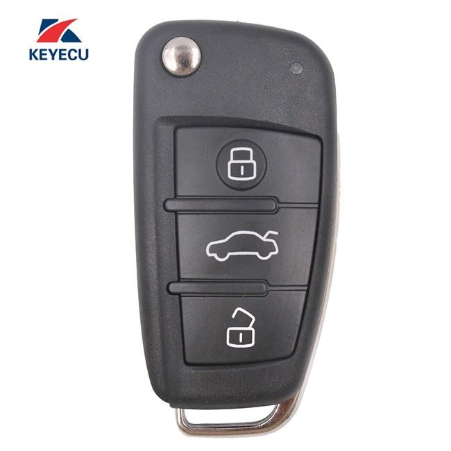 KEYECU remplacement Flip télécommande voiture clé Fob 3 bouton pour Audi A4 Quattro RS4 S4 2005-2009 8E0 837 220Q 433 MHz/315 MHZ 8E puce