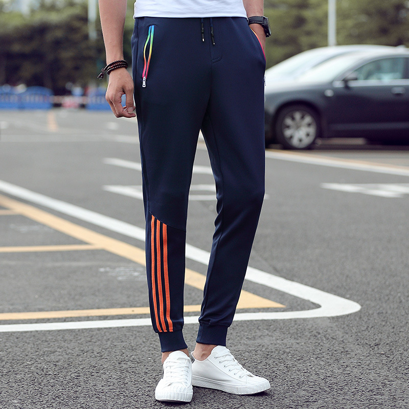 Men's Casual Pants 2019 Autumn Trousers Men Pants Slim Fit Sweatpants Cotton Jogger Striped Bodybuilding Gyms Pants Sportswear(China)